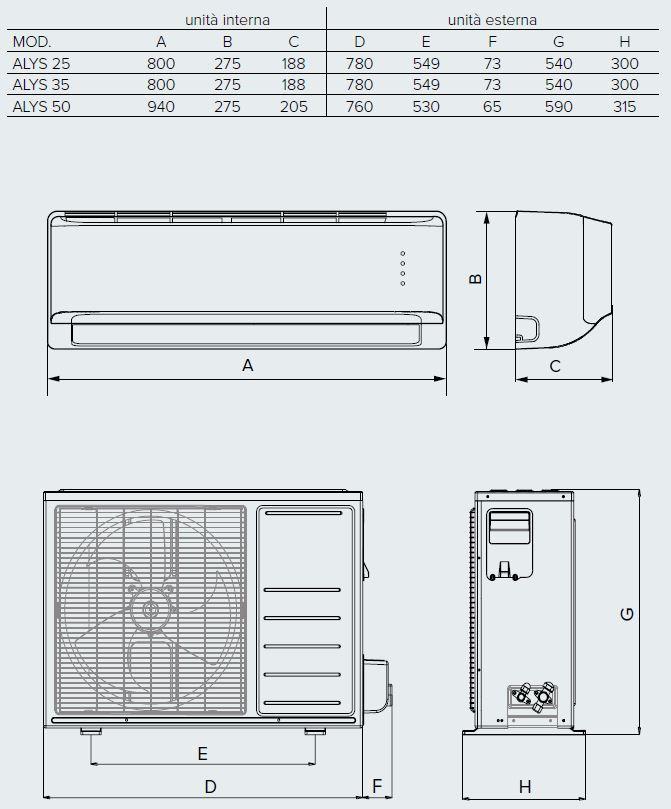 Climatizzatore Mono Split Inverter Alys 25 Mc8 Ariston Motori  Condizionatori Dimensioni